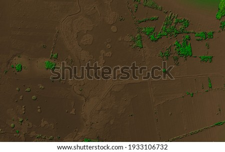 Digital elevation model of a forest area with a swamps. GIS product made by aerial mapping from a drone. Lidar scan and multispectral camera gives NDVI and NIR effect. Royalty-Free Stock Photo #1933106732