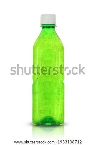 plastic drink bottle with pulp on white background