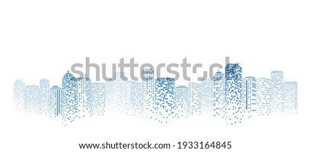 Perspective building. Digital or smart city illustration. City scene on night time. Royalty-Free Stock Photo #1933164845
