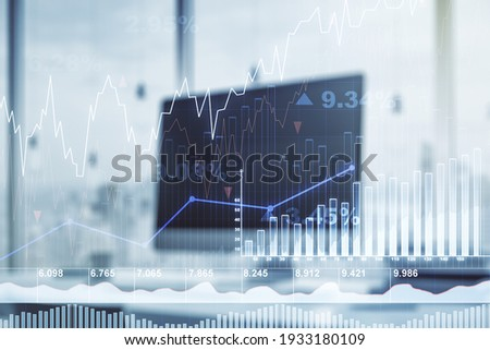 Double exposure of abstract creative financial chart on modern laptop background, research and strategy concept Royalty-Free Stock Photo #1933180109