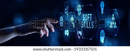 Soft skill personal development business concept on virtual screen. Royalty-Free Stock Photo #1933187501