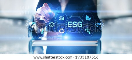 ESG Environment social governance investment business concept on screen. Royalty-Free Stock Photo #1933187516