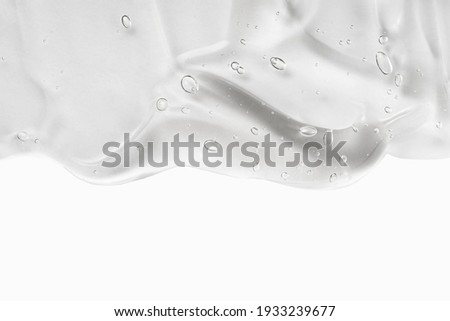 Hyaluron acid for skin care with collagen and retinol. Skincare lotion face serum swatch. Gel smudge isolated on white background. Cosmetic cream transparent liquid gel. Body care. Royalty-Free Stock Photo #1933239677