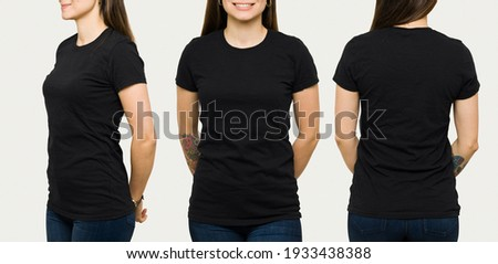 Hispanic young woman wearing a black casual t-shirt. Side view, behind and front view of a mock up template for a t-shirt design print  Royalty-Free Stock Photo #1933438388