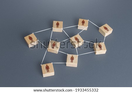 Network of connected people. Interaction between employees and community members. Distribution responsibilities between workers. Information exchange relations. Unity cooperation. Social communication Royalty-Free Stock Photo #1933455332