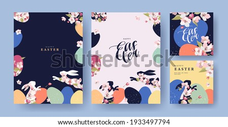 Happy Easter Set of Corporate greeting cards, invitations, holiday covers, posters or flyers design. Trendy Easter design templates with frame made of eggs, rabbits and spring flowers in pastel colors Royalty-Free Stock Photo #1933497794