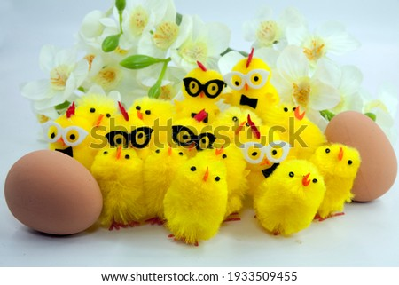 Easter eggs  baby chicks- Eggs and chicks symbolize new life. Eggs have been a symbol of spring since ancient times. . The chick, hatching out of the egg, symbolizes new life or re-birth.