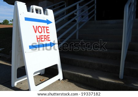 """Vote here"" to direct voters to the polling place"