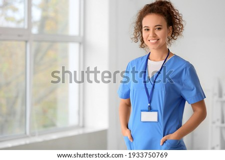 African-American female doctor in clinic Royalty-Free Stock Photo #1933750769