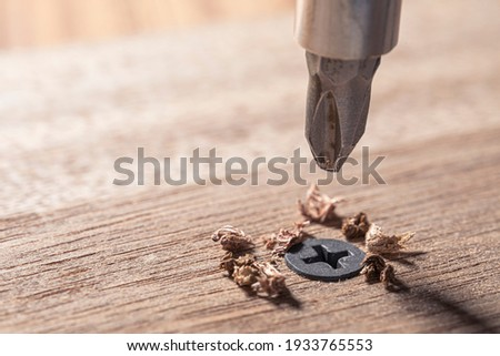 Screwdriver screw in a wood oaks plank. Self-tapping screw for PH2 bit. Screws macro photo. Construction abstraction. Industrial background. Royalty-Free Stock Photo #1933765553