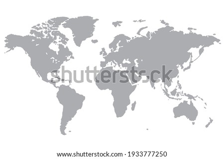 Gray map of world on transparent background. Vector illustration Eps 10.  Royalty-Free Stock Photo #1933777250