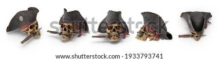 Pirate skull person who attacks and robs ships at sea. Skull wears burgundy bandana, black hat, eyepatch. Isolated white background 3d illustration different angle view realistic set