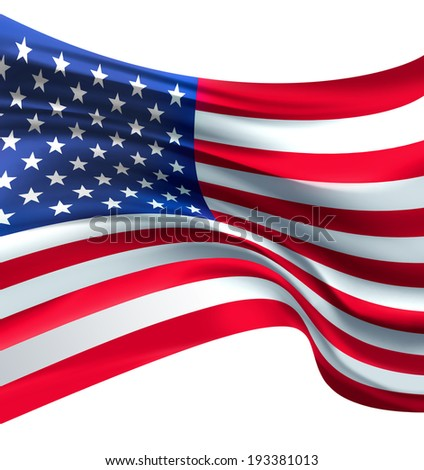 American Flag against white background for Independence Day #193381013