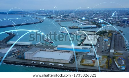 Fishing port and communication network concept. Smart fishery.