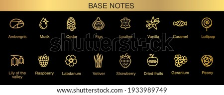 Vector icons aromas base notes. Top notes pyramid chart with examples of popular aroma essences. Smell categories are oriental, woody, fresh and floral. Trend  examples of scents. Royalty-Free Stock Photo #1933989749