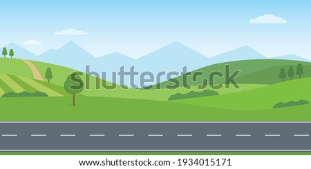Straight empty road through the countryside. Green hills, blue sky, meadow and mountains. Summer landscape vector illustration. Royalty-Free Stock Photo #1934015171