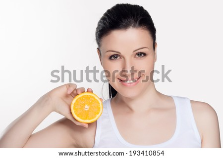Beautiful close-up portrait of young woman with oranges. Healthy food concept. Skin care and beauty. Vitamins and minerals. #193410854