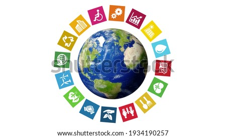 SDGs (Sustainable Development Goals) concept icon illustration. Elements of this image furnished by NASA. 3D rendering. Royalty-Free Stock Photo #1934190257