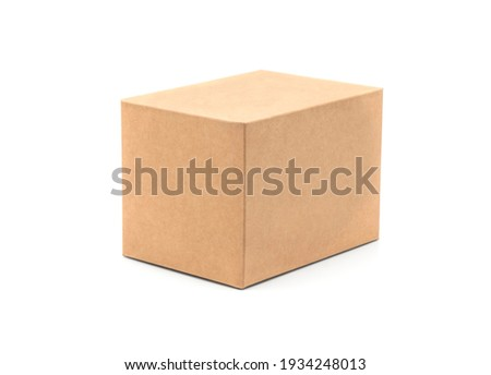 Brown cardboard box isolated on white background with tape. Suitable for packaging. Royalty-Free Stock Photo #1934248013