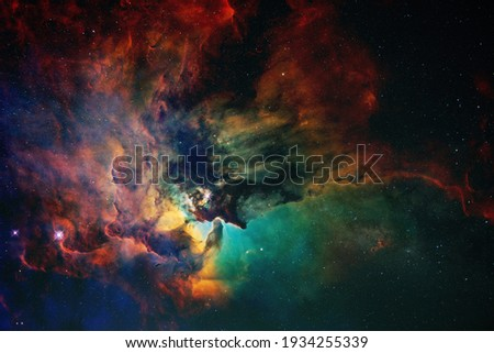 Space wallpaper and background. Universe with stars, constellations, galaxies, nebulae and gas and dust clouds Royalty-Free Stock Photo #1934255339