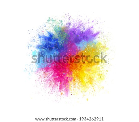 Freeze motion of colored powder explosions isolated on white background Royalty-Free Stock Photo #1934262911