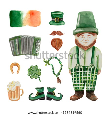 St. Patrick's day watercolor set with leprechaun, irish flag, horseshoe, hat, shoes, shamrock, beard, moustache, beer, accordion. For stationery, prints, greeting cards, invitations, poster, stickers