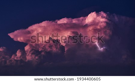 Nine of a thunderstorm at night