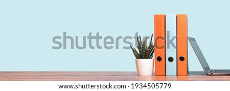 Slim laptop. Blue and orange document binders or lever arch file on an neat office shelf or desk. Cactus in a pot. Business concept banner. Copy space Royalty-Free Stock Photo #1934505779