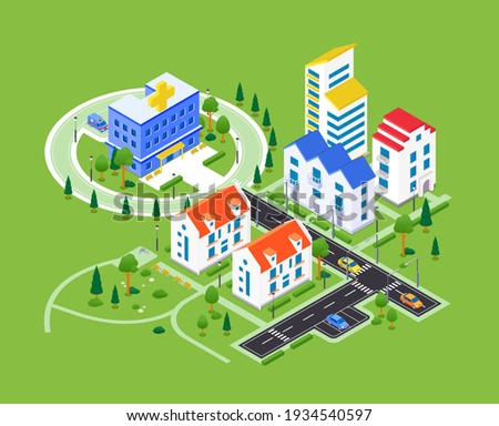City district - modern vector colorful isometric illustration. Urban landscape with apartment houses, hospital with ambulance, road with cars, parking lots, trees. Real estate, housing complex Royalty-Free Stock Photo #1934540597