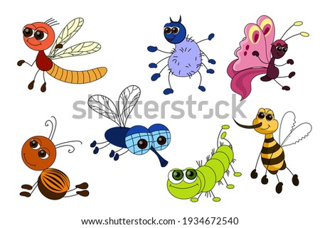 Set of funny insects isolated on white background. Cartoon characters striped, spider, butterfly, beetle, fly, caterpillar, bee. Flat design. Vector illustration.