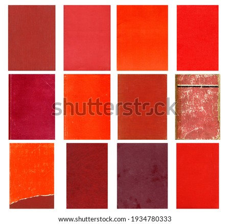 Red paper and textile textures set. Blank retro pages and old book covers. Rough faded canvas surface. Perfect for background and vintage style design. Empty place for text. Royalty-Free Stock Photo #1934780333