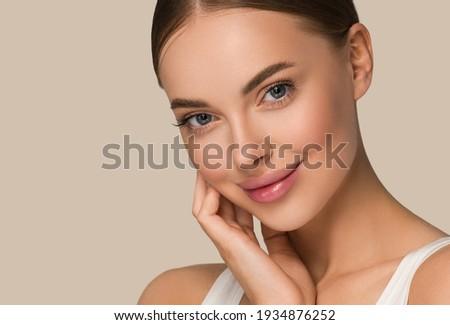Beautiful skin woman face healthy beauty skin care female model Royalty-Free Stock Photo #1934876252