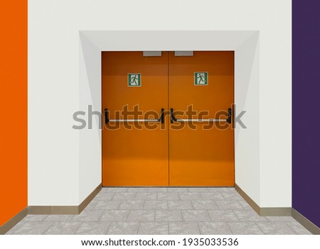 Closed emergency or fire exit door and push to open door for quick evacuation