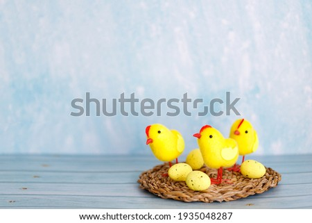 Beautiful blue easter background with chicks. Spring nature backdrop. Festive decorations. Cartoon easter background with chickens for decorative design.