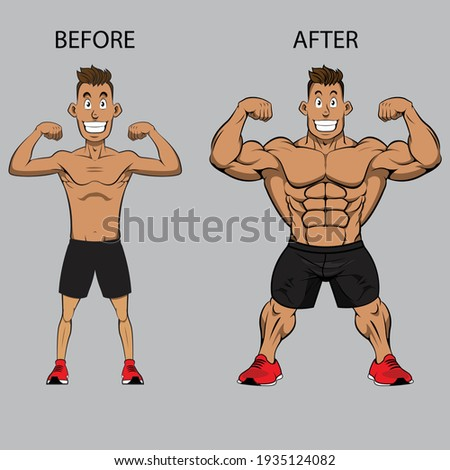 Weight gain. Man before and after exercise vector illustration. Man weight gain, muscular guy, skinny guy Royalty-Free Stock Photo #1935124082