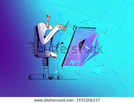 Digital Artist make nft Art token collectible. illustration concept of non fungible tokens collecting art. Collectibles decentralized cryptoart card art. Clip art isolated with background.