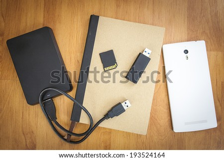 Storage device such as SD card, usb flash drive, external hard drive, Mobile phone and note book #193524164
