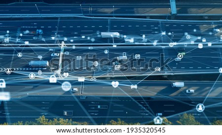 Transportation and technology concept. ITS (Intelligent Transport Systems). Mobility as a service. Telematics. Royalty-Free Stock Photo #1935320545