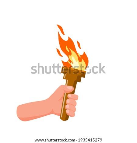Hand holding torch. Symbol of Olympic Flame and sports. Education and lighting. Flat cartoon illustration