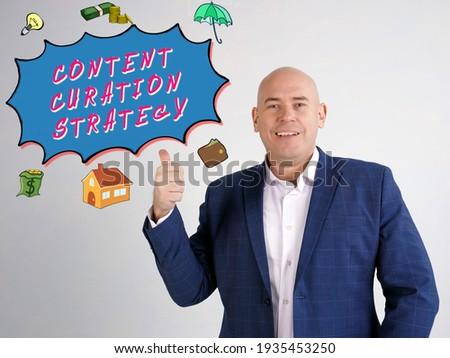 CONTENT CURATION STRATEGY inscription on the wall