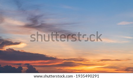 Evening Sky, Colorful Sunset Clouds Sunlight, Dusk Sky Background  Royalty-Free Stock Photo #1935490291