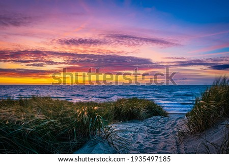 Dune at the North Sea beach in the sunset
