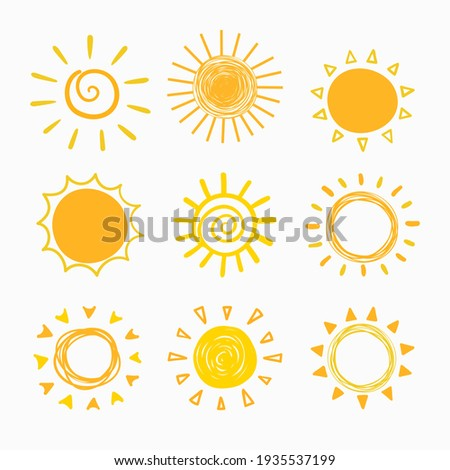 simple isolated childish hand drawn lines, doodle of yellow, orange ray or burst of sun for banner, background, wallpaper, cover etc. vector design.