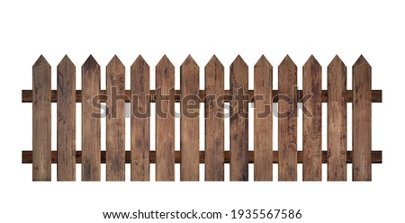 Brown wooden fence isolated on a white background that separates the objects. There are clipping paths for the designs and decoration Royalty-Free Stock Photo #1935567586