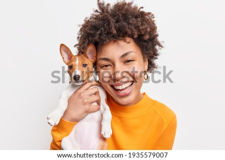 Portrait of good looking cheerful African American woman enjoys company of small pedigree dog wears orange jumper spends free time with favorite pet isolated over white background. Animal owner Royalty-Free Stock Photo #1935579007