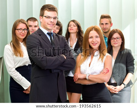 Happy and confident business people on a meeting #193562615