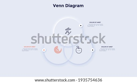 Venn or Euler diagram with three intersected round elements. Concept of 3 features of business srategy. Neumorphic infographic design template. Modern clean vector illustration for logic analysis. Royalty-Free Stock Photo #1935754636