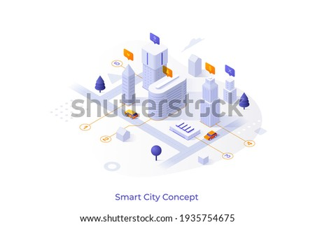 Conceptual template with downtown area or district with office buildings. Scene for finding place for business, commercial property rental service. Modern isometric vector illustration for website. Royalty-Free Stock Photo #1935754675