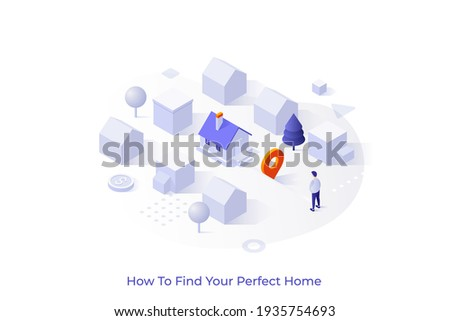 Conceptual template with man standing at city district with houses. Scene for finding perfect home, search for real estate, property for sale. Isometric vector illustration for internet service. Royalty-Free Stock Photo #1935754693
