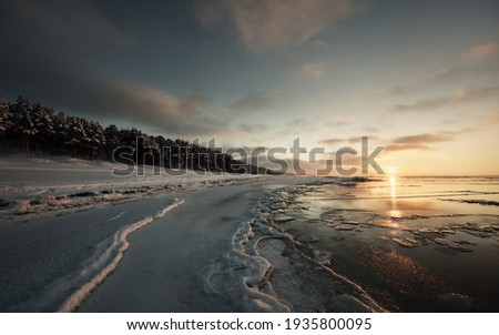 Frozen Baltic sea shore at sunset. Ice fragments close-up, snow-covered pine forest in the background. Colorful cloudscape. Symmetry reflections on the water. Nature, climate change. Panoramic view Royalty-Free Stock Photo #1935800095